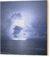 Lightning And Clouds Wood Print
