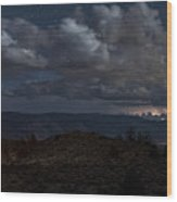 Lightning And Light Trails Wood Print