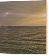 Lightning And Rainbow, Fort Myers Beach, Fl Wood Print