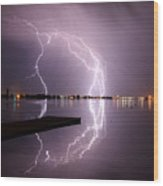 Lightning And Water Wood Print