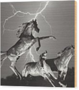 Lightning At Horse World Wood Print