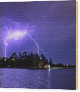 Lightning Bolt Cracks Over Lake Wendouree Wood Print