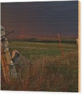 Lightning Bolt Over Post Rock Country, North Central, Kansas Wood Print