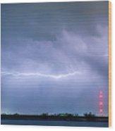 Lightning Bolting Across The Sky Wood Print