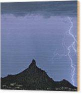 Lightning Bolts And Pinnacle Peak North Scottsdale Arizona Wood Print