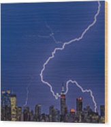 Lightning Bolts Over New York City Wood Print
