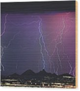 Lightning City Wood Print