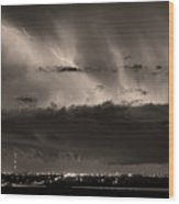 Lightning Cloud Burst Boulder County Colorado Im39 Sepia Wood Print