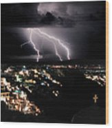 Lightning During A Thunderstorm On The Island Of Santorini, Greece Wood Print