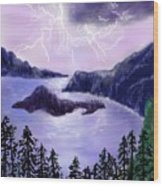 Lightning In Purple Clouds Wood Print
