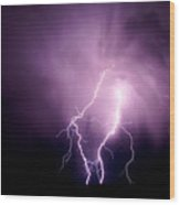Lightning In The Desert Wood Print