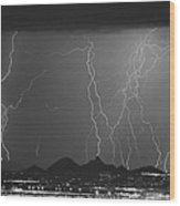 Lightning Long Exposure Wood Print