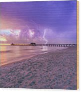 Lightning Naples Pier Wood Print