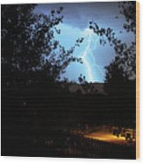 Lightning On The Distant Mountains Wood Print