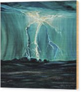 Lightning On The Prairie Wood Print