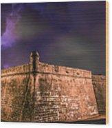 Lightning Over Castillo De San Marcos National Monument Wood Print