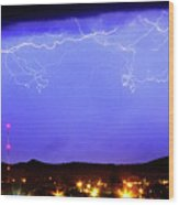 Lightning Over Loveland Colorado Foothills Panorama Wood Print