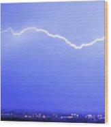 Lightning Over North Boulder Colorado - Cropped Wood Print