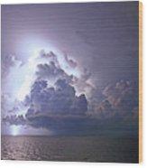 Lightning Over The Gulf Wood Print