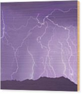 Lightning Over The Mountains Wood Print