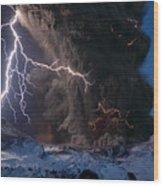 Lightning Pierces The Erupting Wood Print by Sigurdur H Stefnisson