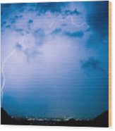 Lightning Rainbow Blues Wood Print