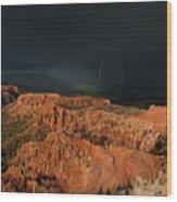 Lightning Rainbow Over Hoodoos Bryce Canyon National Park Utah Wood Print