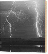 Lightning Storm 08.05.09 Bw Wood Print