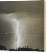 Lightning Storm City Lights Jet Airplane Fine Art Photography Wood Print