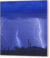 Lightning Storm In The Desert Fine Art Photography Print Wood Print