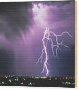 Lightning Storm Wood Print