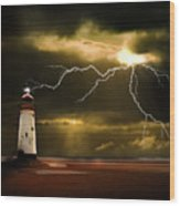 Lightning Storm Wood Print by Meirion Matthias