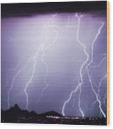 Lightning Storm North Scottsdale Az 85255 Wood Print