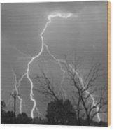 Lightning Storm On 17th Street Bw Fine Art Print Wood Print