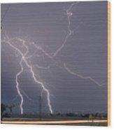 Lightning Storm  Power Lines Car Trails Wood Print