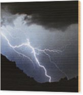 Lightning Strike Bump In The Road Wood Print