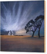 Lightning Strike Wood Print