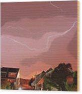 Lightning Strike Wood Print
