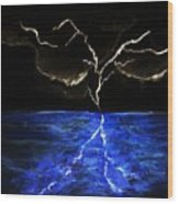 Lightning Strikes Wood Print