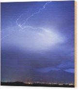 Lightning Strikes Over Boulder Colorado Wood Print