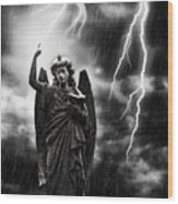 Lightning Strikes The Angel Gabriel Wood Print
