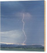 Lightning Striking At Sunset Rocky Mountain Foothills Wood Print