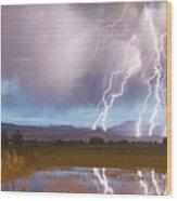 Lightning Striking Longs Peak Foothills 4 Wood Print