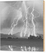 Lightning Striking Longs Peak Foothills 4cbw Wood Print by James BO  Insogna