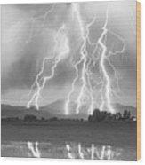 Lightning Striking Longs Peak Foothills 4cbw Wood Print