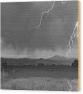 Lightning Striking Longs Peak Foothills 5bw Wood Print