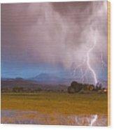 Lightning Striking Longs Peak Foothills 7c Wood Print