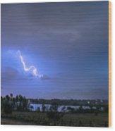 Lightning Striking Over Boulder Reservoir Wood Print