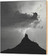 Lightning Striking Pinnacle Peak Arizona Wood Print