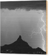 Lightning Thunderstorm At Pinnacle Peak Bw Wood Print by James BO  Insogna